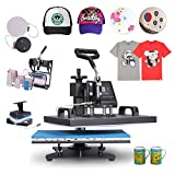 Utraselect Presse de la Chaleur 8 en 1 38 x 30 cm Machine de Presse à Chaleur Heat Press Machine Swing design Sublimation Thermique pour Plaque Mug Tasse Chapeau T-shirt (8 en 1 38 x 30 cm)