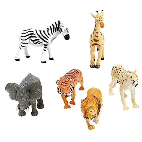 NUOLUX 6pcs Plastic Model Animals Toy Farm Animal Tiger Leopard Lion Giraffe Zebra Elephant Wild