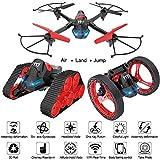 3 en 1 WiFi FPV Drone, avec 0.3MP Caméra, 2.4G RC Aérienne Caméra Quadcopter, Exploit Sportif Bounce Quatre Deformation Axe Avion Jouet, 3D Evsersion, sans Interface, Drone pour Débutants