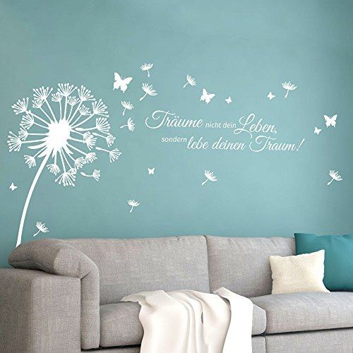 Grandora Wandtattoo Pusteblume Zitat Träume Nicht Dein Leben I weiß (BxH) 170 x 116 cm I Löwenzahn Wohnzimmer Wandsticker Wandaufkleber Aufkleber W5479