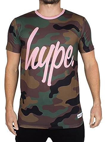 Hype Homme All Over Camo Logo T-shirt Script, Vert, Medium
