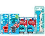 Steripod Kit for Men: 2 Clip-On Razor Protectors (Blue & Teal), 4 Toothbrush Covers (Blue, Red, Teal, Silver), 2 Tongue Cleaners (Blue & Pearl)