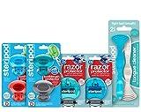 Steripod kit per gli uomini: 2clip-on Razor protezioni (blu & verde), 4spazzolino cover (blu, rosso, turchese, argento), 2lingua Cleaners (Blue & Pearl)