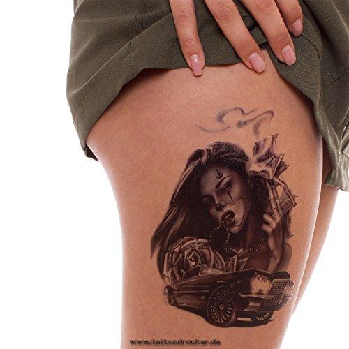 2 x Frau Auto Rose Tattoo in schwarz - Fake temporäres einmal Körpertattoo - HB 819 ()