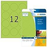 Herma 5155 Neonetiketten rund, farbig, signalstark (Ø 60 mm auf DIN A4 Papier matt) 240 Stück, neon-grün, bedruckbar, selbstklebend