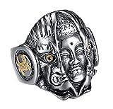 HIJONES Herren Vintage Buddhist Buddha und Dämon Mantra Ring aus Edelstahl Antikes Silber Größe 54