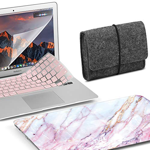GMYLE MacBook Air 13 Zoll Hülle, ältere Version kompatibel A1369/A1466 2008-2017 Release No Touch ID, Hard Shell, Filztasche, Rose Quartz Keyboard Cover & Displayschutzfolie - Pink Marmor