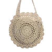 Youkara Summer Beach Women Straw Bag Handwoven Storage Basket Round Large Capacity