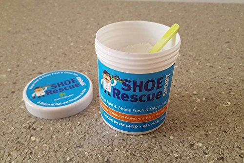 51xGEwEbTbL - Shoe Rescue Polvos para pies y calzado Elimina el olor de pies 100% natural Contiene aceites esenciales Árbol de Té Eucalipto y Menta 100g