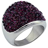 Anyeda Damenringe Modeschmuck Edelstahl Sticky Cz Solids Cut Set Klassische Lila Finger Bands Ring mit 5 Steinen Silber Größe 57 (18.1)