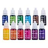 Jim's Stores Set de Colorante 12*10ml,Colorante Alimentario Alta Concentración Liquid Set para Colorear los Bebidas Pasteles Galletas Macaron Fondant