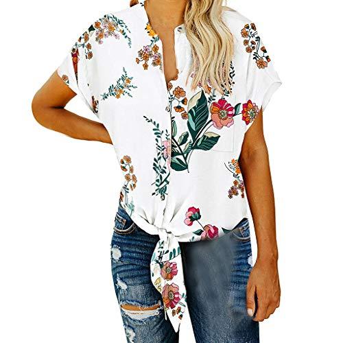 Sanahy T-Shirt Damen Blusen Tops Sommer Sexy Einfarbig Kurzarmshirt Oberteile, Bedrucktes geknotetes Oberteil mit Knopfleiste Top Bluse Tee
