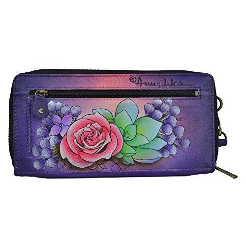Pelle Anuschka dipinto a mano, il blocco RFID , zip intorno portafoglio, regalo di lusso per le donne , 1111 PPK Multicolore (Lush Lilac)