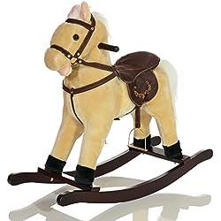 Grande Peluche Cavallo a Dondolo bambini GRANDOR giocattolo con rumori galoppo ed effetti sonori - Beige