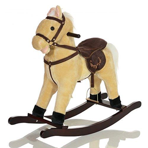 LCP KIDS grand Cheval a bascule GRANDOR en bois et peluche pour enfant - jouet avec des bruits de galop et des effet sonore - beige