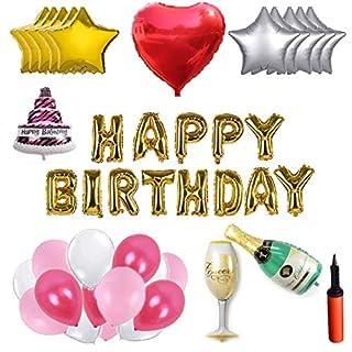 WENTS Party Foil Latex Balloons - Ballon Set - 100 Latexballons, 14 Folienballons, Happy Birthday Letters, Pumpe, Band, Ballonkleber, Kreative Party Dekoration