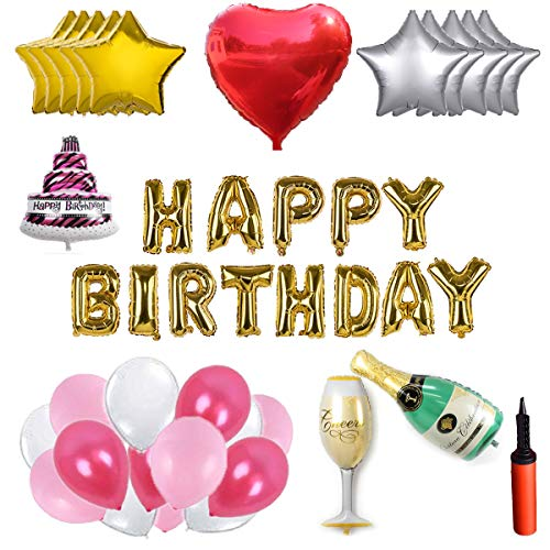 WENTS Party Foil Latex Balloons - Ballon Set - 100 Latexballons, 14 Folienballons, Happy Birthday Letters, Pumpe, Band, Ballonkleber, Kreative Party Dekoration