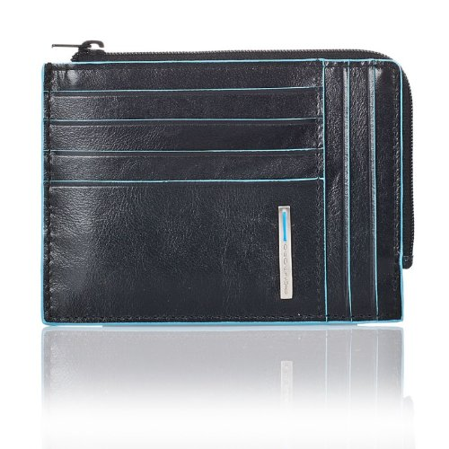 PIQUADRO Blue Square Portafoglio portamonete, documenti e carte di credito in Vera Pelle nero PU1243B2/N