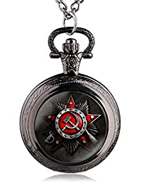 Black : 2016 New Antique Soviet Union Flag Theme Bronze Quartz Pocket Watch Pendant Necklace Fob Watch For Gift