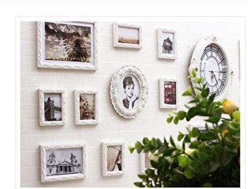 X&L Mediterrane Europäische klassische Wand HomeLiving Kreativraum Schlafzimmer Dekoration Handarbeit Holz weiß Foto (mit Uhren und Uhren) , 15 london time - 2