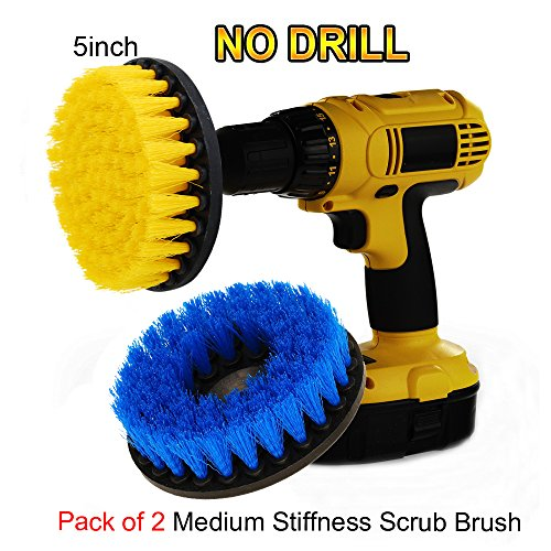 OxoxO (Pack of 2) 5inch Medium Heavy Duty Scrubbing Cleaning Power Scrubber Cleaning Drill Brush Kit for Bathroom Surfaces Tub, Shower, Tile and Grout -