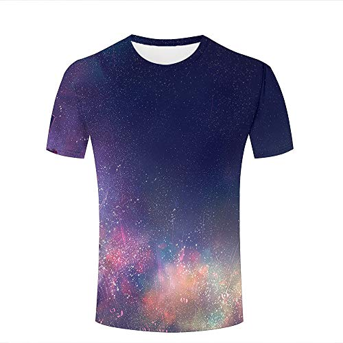 Mens 3D Printed T-Shirts Purple Galaxy Stars and Colorful Nebula Creative Novelty Short Sleeve Tops Tees S (Volcom-zeichen)