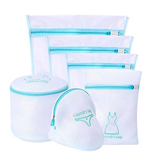 Mesh feine Taschen für Waschmaschine, große Netz Wäsche Kleidung Waschen Taschen Set für BH und Dessous mit Reißverschluss von abimars blau, 6Stück - Mesh-tasche Wäsche-waschen Für