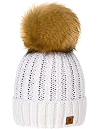 MFAZ Morefaz Ltd Niña Sombrero De Invierno Beanie Hat Niños Chicas Gran Pom Pom Gorro De Invierno Cálido