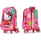 Hello Kitty Travel School Bag and Trolley Luggage Suitcase Bag 6 Wheels School Bag For Kids By Ratna International