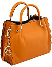 Valo Stylish Lightweight Leather Handbag With A Long Strap For Women   Purse Travel Shoulder Tote Bag Brown