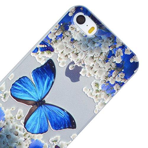 GrandEver Coque iPhone 5 / 5s / SE Transparente Silicone Gel avec Souple Fine Rose Flamant Flamingo Design Bumper Utra Mice Soft Doux Flexible Case Etui Cover Housse pour iPhone 5 5s SE Bleu Papillon