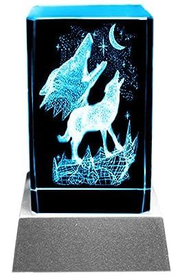 Kaltner Präsente Stimmungslicht 3D Laser Kristall Glasblock mit LED Beleuchtung - Heulende Wölfe bei Mondschein von LED & Glas by Kaltner Präsente auf Lampenhans.de