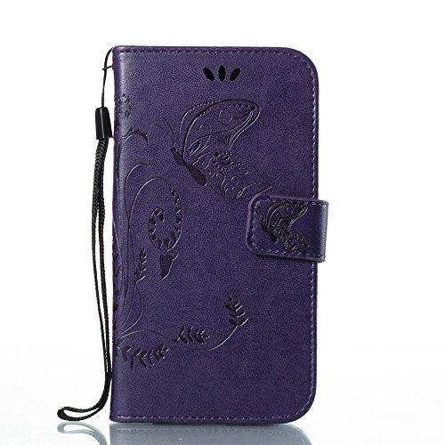 EKINHUI Case Cover Horizontale Folio Flip Stand Muster PU Leder Geldbörse Tasche Tasche mit geprägten Blumen & Lanyard & Card Slots für MOTO G5 ( Color : White ) Purple
