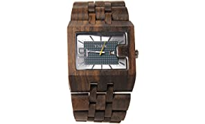 TSAR Wooden Multi-Colour Dial Men's Wood Watch -Square