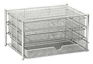 osco m3ds1slv wire mesh 3 drawer paper sorter silver
