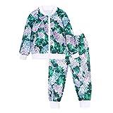 Quaan Kleinkind Baby Mädchen Jungen Kleider Einstellen Blumen Drucken Reißverschluss Oberteile Mantel Hose Outfits Baumwolle niedlich Charakter warm weich Mantel Sweatshirt Windjacke