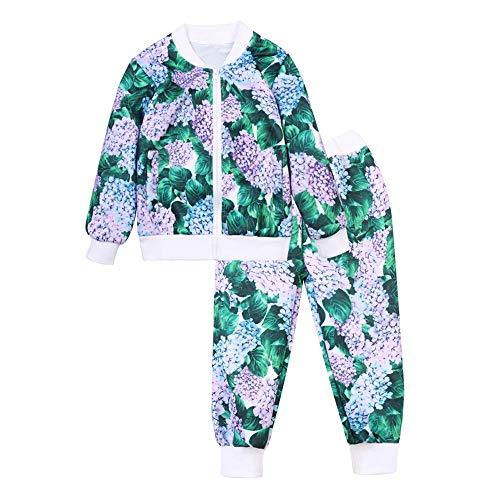 (Quaan Kleinkind Baby Mädchen Jungen Kleider Einstellen Blumen Drucken Reißverschluss Oberteile Mantel Hose Outfits Baumwolle niedlich Charakter warm weich Mantel Sweatshirt Windjacke)