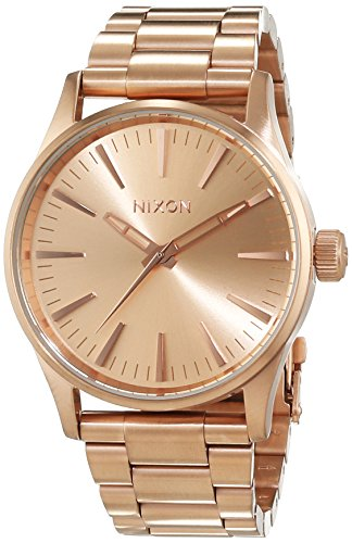 Nixon Damen-Armbanduhr Sentry 38 SS All Rose Gold Analog Quarz Edelstahl A450897-00 (Nixon Watch Gold Rose)