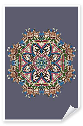 Postereck - Premium Poster 1904 - Mandala, Zeichnung bunt Hinduismus Buddhismus Magie - Größe - DIN - A4-21.0 cm x 29.7 cm