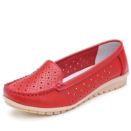 Minetom Damen Maedchen Hohl Flach Freizeit Business Schuhe Mokassin flach Arbeiten Loafer Slipper Sommer Schuhe Bootsschuhe Rot EU 39 Kilty Driving Moc