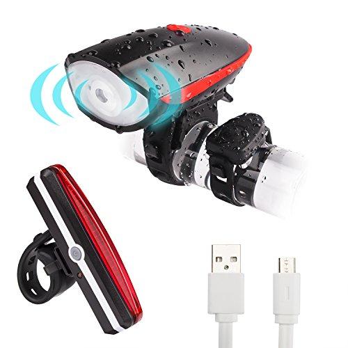 YaFex LED Fahrrad Lampensets mit Fahrradklingel 120 dB Wasserdicht Fahrradbeleuchtung USB Wiederaufladbare Fahrrad Lichter Set Frontlicht Rücklicht Rot
