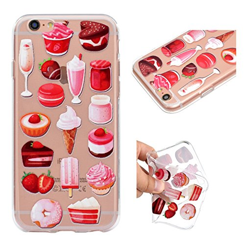 Custodia per iPhone 6 Plus, per iPhone 6S Plus Cover, ZCRO Custodia in Silicone Trasparente TPU Colorata Modello Ultra Slim Disegno Case Gomma Morbida Antigraffio Bumper Caso Cover Protezione con Penn Cibo