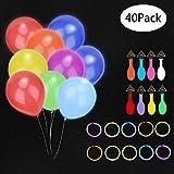 Hailey&Elijah 30 LED Ballons und 10 Knicklichter, LED Luftballons Bunt Helium Ballons mit Farbigem Band für Party, Geburtstag, Hochzeit, Festival, Weihnachten(10 Farben)