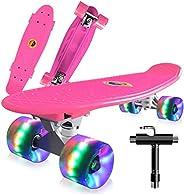 Cutemelo Skateboards 55cm Mini Cruiser Skateboard Completo retrò per Ragazzo, Ragazza, Giovani, Adulti, Princi