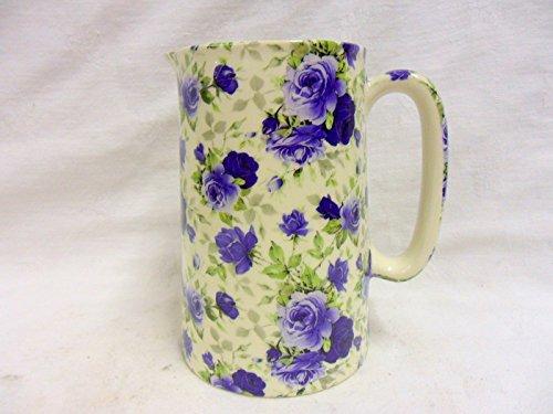 Vintage Blue Summertime Chintz 1 Pint Jug By Heron Cross Pottery