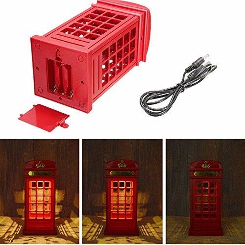 ZJchao Retro London Telefonzelle Lampe Nacht Licht Taste Sensor USB Ladegerät Beleuchtung von Nachttisch LED