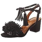 Artfaerie Damen Damen Blockabsatz Bequeme Sandalen mit Fransen und Schnürung Riemchen Pumps Offen Schuhe