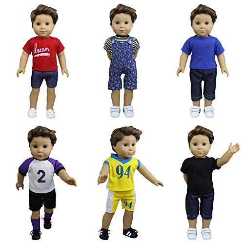 Puppe-kleidung Mein Als Leben (ZITA ELEMENT 6 Set Sommer Puppenkleidung für 43-46cm Puppen Babypuppe Täglichen Kleidung Freizeitkleidung Urlaub Outfits Sport)
