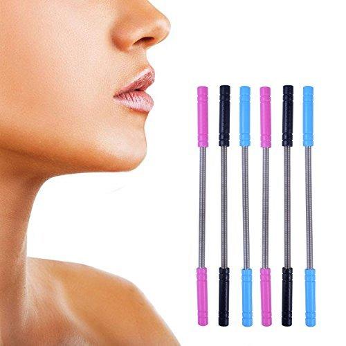 Euhuton 6pièces Poils du visage épilateur Remover Threading Beauté Outil en acier inoxydable pour femme, 3couleurs