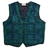 GANJA WEAR Samtweste mit Cannabis Druck grün 100 % Baumwolle Original 1990er Jahre lieferbar in den Größen M und L (M)